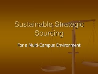 Sustainable Strategic Sourcing