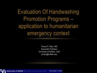 Evaluation Of Handwashing Promotion Programs –  application to  h umanitarian  e mergency context
