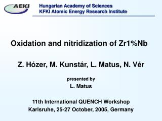 Oxidation and nitridization of Zr1%Nb