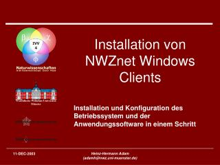 Installation von NWZnet Windows Clients