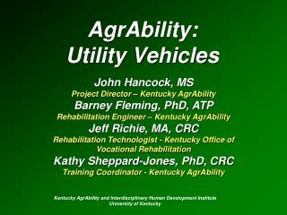 AgrAbility:  Utility Vehicles