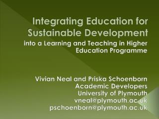 Integrating Education for Sustainable Development