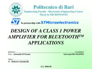 Politecnico di Bari Engineering Faculty - Electronics Engineering Course Thesis in MICROWAVES