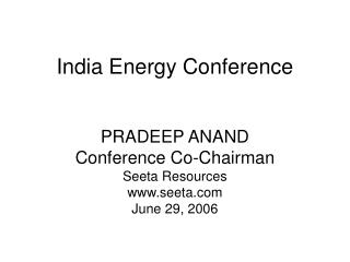 India Energy Conference