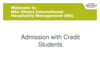 Welcome to  BSc (Hons) International Hospitality Management (HO)