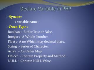 Declare Variable in PHP
