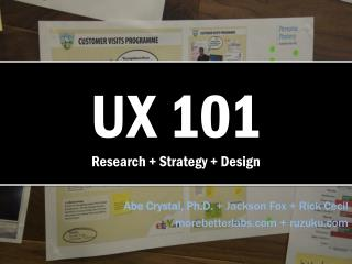UX 101 Research + Strategy + Design