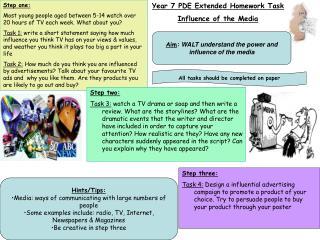 Year 7 PDE Extended Homework Task Influence of the Media