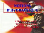 NOTIONS DHYDRAULIQUE