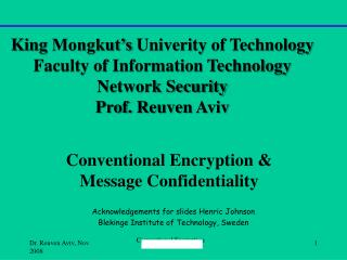 Conventional Encryption & Message Confidentiality
