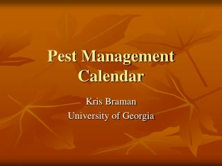 Pest Management Calendar