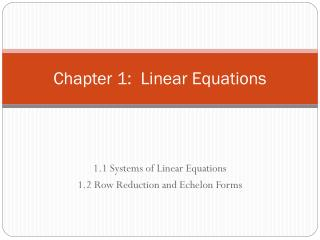 Chapter 1:  Linear Equations
