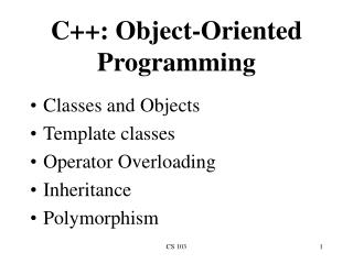 C++: Object-Oriented Programming