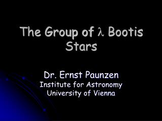The Group of l Bootis Stars