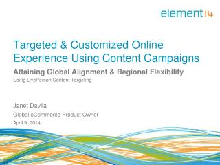 Targeted & Customized Online Experience Using Content Campaigns