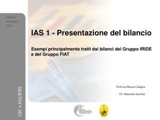 IAS 1 - Presentazione del bilancio