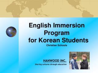 English Immersion Program for Korean Students Christian Schools