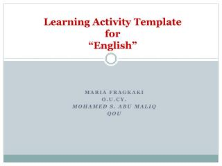"""Learning Activity Template for """"English"""""""