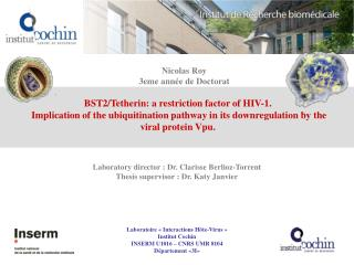 BST2/Tetherin: a restriction factor of HIV-1.