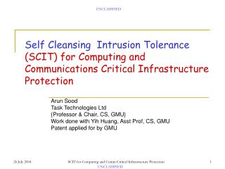 Arun Sood Task Technologies Ltd {Professor & Chair, CS, GMU}