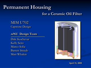 Permanent Housing for a Ceramic Oil Filter