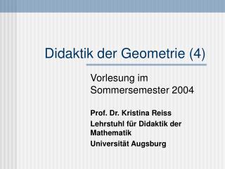 Didaktik der Geometrie (4)