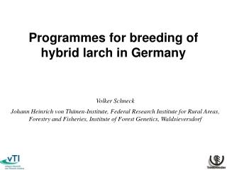 Programmes for breeding of hybrid larch in Germany