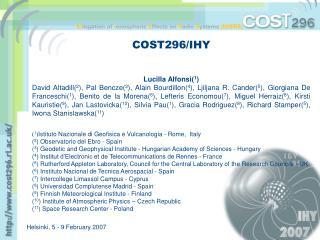 COST296/IHY Lucilla Alfonsi( 1 )