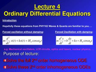 Lecture 4 Ordinary Differential Equations
