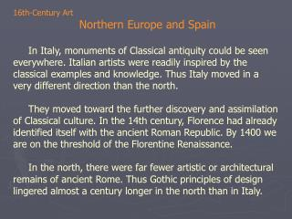 16th-Century Art  Northern Europe and Spain