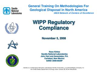 WIPP Regulatory Compliance November 5, 2008