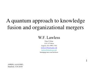 A quantum approach to knowledge fusion and organizational mergers