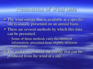 Presentation of Wind Data