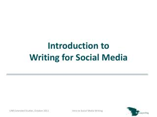 Introduction to Writing for Social Media