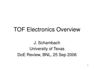 TOF Electronics Overview