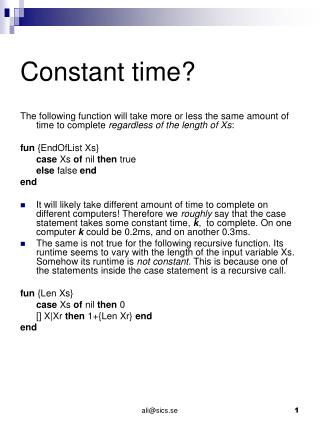 Constant time?