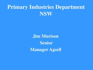 Primary Industries Department NSW