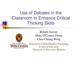Use of Debates in the Classroom to Enhance Critical Thinking Skills