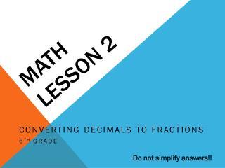 Math Lesson 2