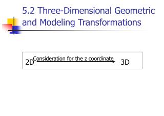 5.2 Three-Dimensional Geometric and Modeling Transformations