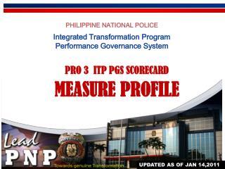 PHILIPPINE NATIONAL POLICE Integrated Transformation Program Performance Governance System