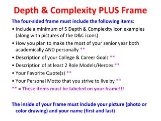 Depth & Complexity PLUS Frame