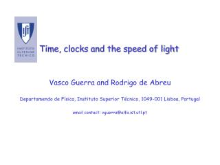 Time, clocks and the speed of light