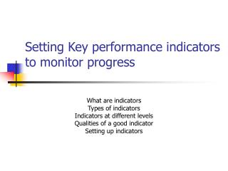 Setting Key performance indicators to monitor progress