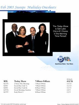 HH Rtg/Sh KSLToday Show7:00am-9:00am4.0/16 KUTV2 News This Morning7:00am-8:00am3.5/15