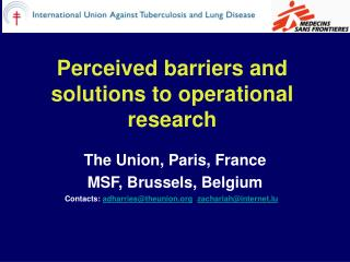 Perceived barriers and solutions to operational research