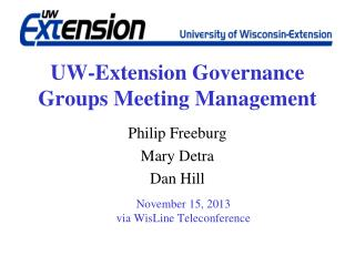 UW-Extension Governance Groups Meeting Management