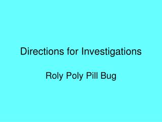 Directions for Investigations