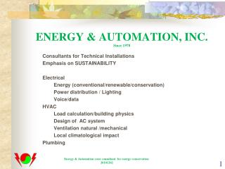 ENERGY & AUTOMATION, INC. Since 1978