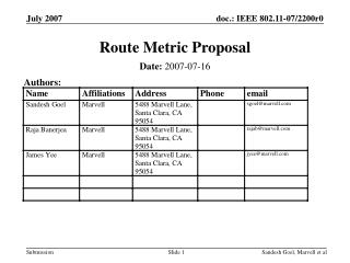 Route Metric Proposal